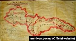 Мапа Карпатської України після визначення українсько-словацького кордону (зроблена Трембіцьким), 24 жовтня 1938 року