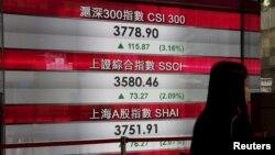 Гонконг қор биржасындағы Shanghai Composite және Shenzhen композит индекстері көрсеткіші. (Көрнекі сурет).