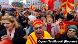 Protestat e organizuara në mars të këtij viti, kundër marrëveshjes për emrin me Greqinë