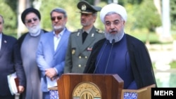 President Hassan Rouhani addresses to the main issues in Iran to the reporters in the last session of his cabinet in the Iranian year (1396), March 18, 2018.