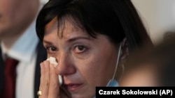 Ձերբակալված բելառուս լրագրող Ռոման Պրոտասևիչի մայրը, Նատալիա Պրոտասևիչը, Վարշավա, 27 մայիսի, 2021թ.