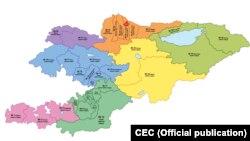 Кыргызстандагы бир мандаттуу 36 округдардын картасы. Борбордук шайлоо комиссиясы чийген схема.