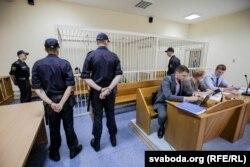 Падчас суду па справе Аляксандра Коржыча. 8 жніўня 2018 году