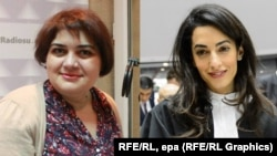 Jailed Azerbaijani journalist Khadija Ismayilova (right) has agreed to accept an offer by Amal Clooney (left) to represent her. (file photo)