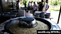 "Uzbekistan - ""Central Asian pilaf centre"" (osh, plov - uzbek national food) in Tashkent, 07 June 2012"