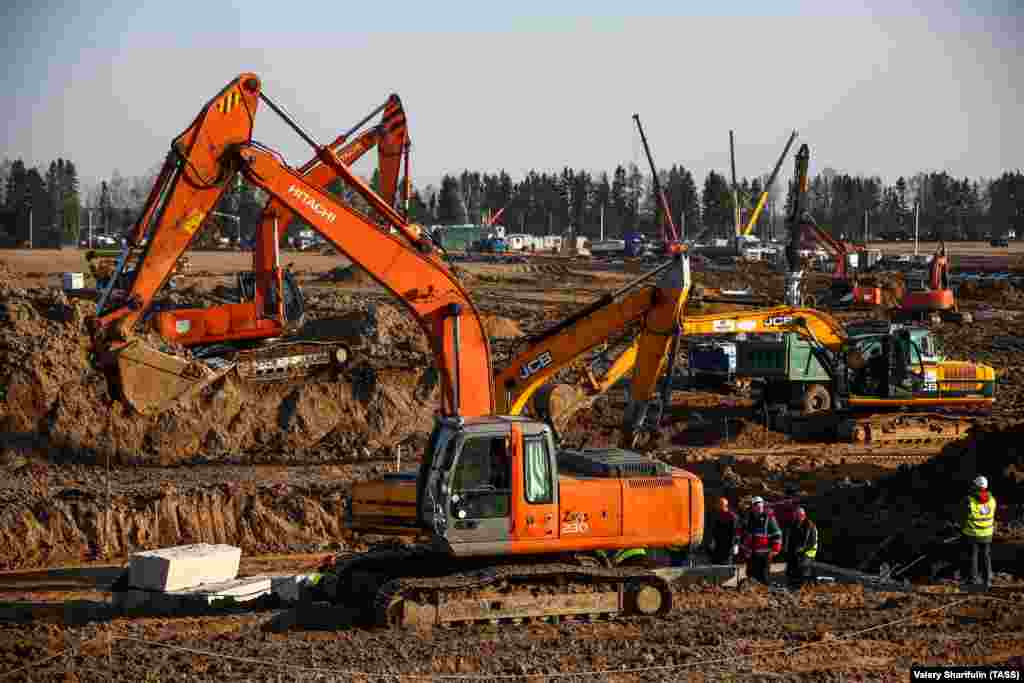 Excavators have been deployed at the construction site in Babenki, 50 kilometers southwest of Moscow.