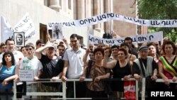 Armenians protest in Yerevan against the legislation that would allow foreign-language schools to operate.