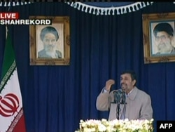A TV grab shows President Mahmud Ahmadinejad speaking to residents of Shahr-e Kord on November 9.