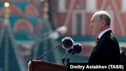 Ռուսաստանի նախագահ Վլադիմիր Պուտինը ելույթ է ունենում Հաղթանակի շքերթի ժամանակ, Մոսկվա, 24-ը հունիսի, 2020թ.