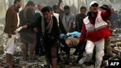 مجلس ترحیمی که روز شنبه در صنعا از سوی ائتلاف عربی به رهبری عربستان بمباران شد.