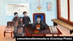 Ceușescu și uteciștii (Aurelia Gheorghiu) oferit de Întreprinderea Cinematografică Bucureşti; 1971; ulei pe carton. Sursa: comunismulinromania.ro