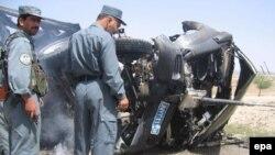خودروی زره پوش سازمان ملل در این انفجار به کلی آسیب دید.