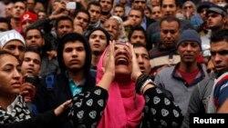 Египет журналистер одағы кеңсесі маңындағы үкіметке наразылық жиыны. Каир, 25 қаңтар 2015 жыл.