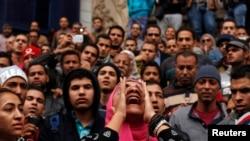 Антиправительственная демонстрация около офиса Союза журналистов Египта (Каир, 25 января 2015 г.)