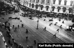 A photo made by Karl Bulla's son, Viktor, moments after a crowd of demonstrators were machine-gunned amid mass unrest in St. Petersburg in the summer of 1917. The photo was shot from a rooftop near Karl Bulla's photo studio.