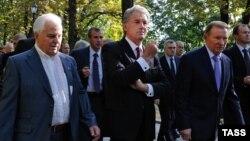 Бывшие президенты Украины Леонид Кравчук, Виктор Ющенко и Леонид Кучма. 2014 год