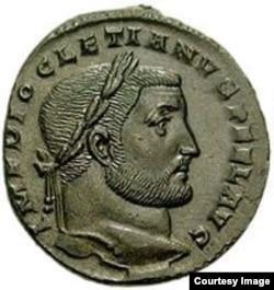 Римская монета с профилем Диоклетиана