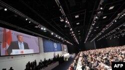Премьер-министр Дании открывает конференцию в Копенгагене.