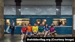 Six gay rights activists from (left to right) Spain, The Netherlands, Brazil, Mexico, Argentina, and Colombia, have taken to the streets of Russia to display the rainbow flag while the World Cup is under way.<br />  <br />  <br />