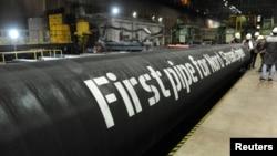 Ілюстрацыйнае фота. Першыя трубы для газаправоду «Паўночны паток— 2»