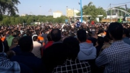 Ahwaz Steel Factory workers in a protest in South Iran