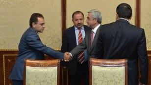 Armenia - President Serzh Sarkisian meets with the leaders of the Dashnaktsutyun party to discuss constitutional reform, Yerevan, 26Aug2015.