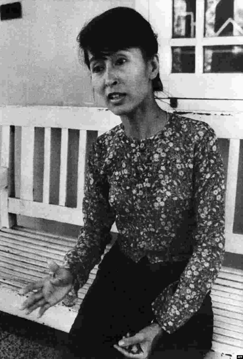 Suu Kyi at her residence in Yangon on February 9, 1989.