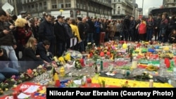 Брюссельдегі теракт құрбандарын еске алу. Бельгия, 23 наурыз 2016 жыл.