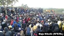 Беженцы на границе между Сербией и Хорватией, 22 октября 2015 года.