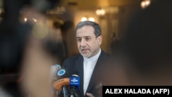 Abbas Araghchi, political deputy at the Ministry of Foreign Affairs of Iran, speaks to the media in Vienna after nuclear talks. July 28, 2019