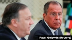 U.S. Secretary of State Mike Pompeo (left) and Russian Foreign Minister Sergey Lavrov attend a joint news conference after their talks in the Black Sea resort city of Sochi on May 14.