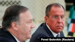 U.S. Secretary of State Mike Pompeo and Russian Foreign Minister Sergey Lavrov attend a joint news conference after their talks in the Black Sea resort city of Sochi, May 14, 2019. File photo