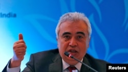 FILE PHOTO: Fatih Birol, Executive Director of the International Energy Agency, speaks with the media during the International Energy Forum (IEF) in New Delhi, India, April 11, 2018. REUTERS/Altaf Hussain/File Photo