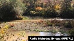 Намалено ниво на водата во Река Пчиња поради долготрајниот сушен период.