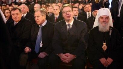 Predsjednik RS Milorad Dodik, šef diplomatije Rusije Sergej Lavrov, predsjednik Srbije Aleksandar Vučić i patrijarh SPC Irinej, u Beogradu, februar 2018.