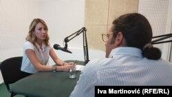 Dubravka Negre u razgovoru sa novinarom Milanom Nešićem u beogradskom studiju RSE