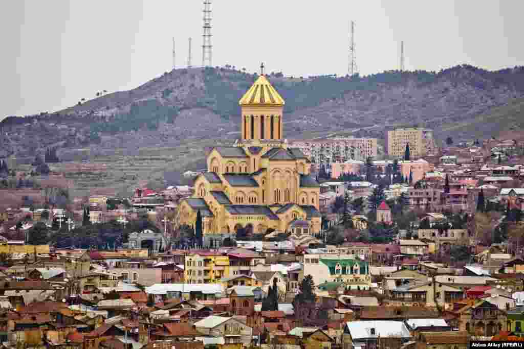 The reconstructed Holy Trinity Cathedral, known as Sameba, is the main cathedral of the Georgian Orthodox Church in Tbilisi.