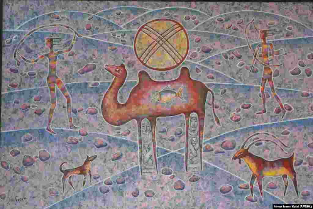 Другая популярная тема - стилизованные верблюды с сакральными символами.