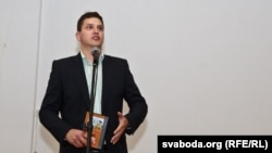 Журналіст Павал Мажэйка, адзін з арганізатараў прэзэнтацыі дыска «Саўка ды Грышка. 100 песень» у Горадні
