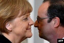 Ангела Меркель и Франсуа Олланд. Минск, 12 февраля