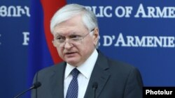 Armenia - Foreign Minister Edward Nalbandian speaks at a news conference in Yerevan, 29 January 2018.