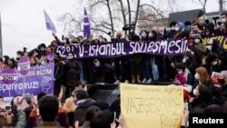 საპროტესტო გამოსვლა თურქეთში. 2021 წლის 20 მარტი
