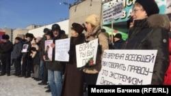 Пикет в память о Борисе Немцове в Томске в 2016 году