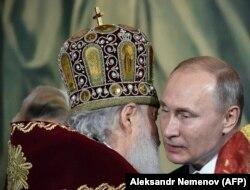 Патриарх Кирилл и президент РФ Владимир Путин. Православная Пасха. 8 апреля 2018 года