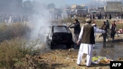 The Punjab government Mi-17 helicopter went down near in Taliban-controlled territory of Afghanistan near Pakistan's Kurram tribal area, pictured, the scene of a bomb blast last December.