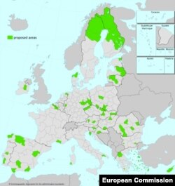 Предложените от Еврокомисията региони, които би трябвало да получат финансиране от Фонда за справедлив преход са в зелено