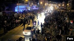 Iranians in Mashhad celebrate news of the nuclear deal on April 2.
