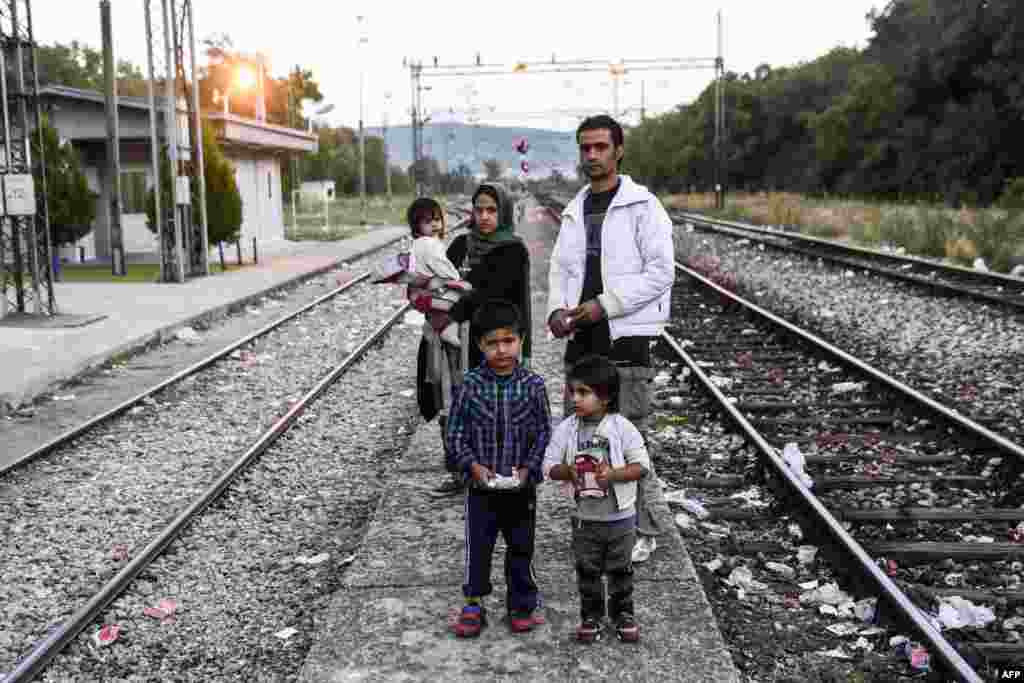 An Afghan migrant family poses on a railway line near the town of Presevo, Serbia. Faced with what the bloc has called its worst refugee crisis since World War II, the German chancellor and French president held talks in Berlin on August 24 in a bid to give a fresh impetus to the EU's response in dealing with the situation. (AFP/Armend Nimani)
