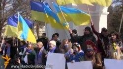 Симферополдо Орусия баскынчылыгына жана референдумга каршы флешмоб өттү