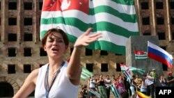 Фотография Ибрагима Чкадуа, сделанная в Сухуми во время празднования признания Россией независимости Абхазии в августе 2008 года